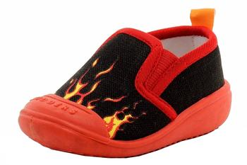 Skidders Infant Toddler Boy's Fast Flames Red/Black Canvas Comfort Slip On Shoes UPC: