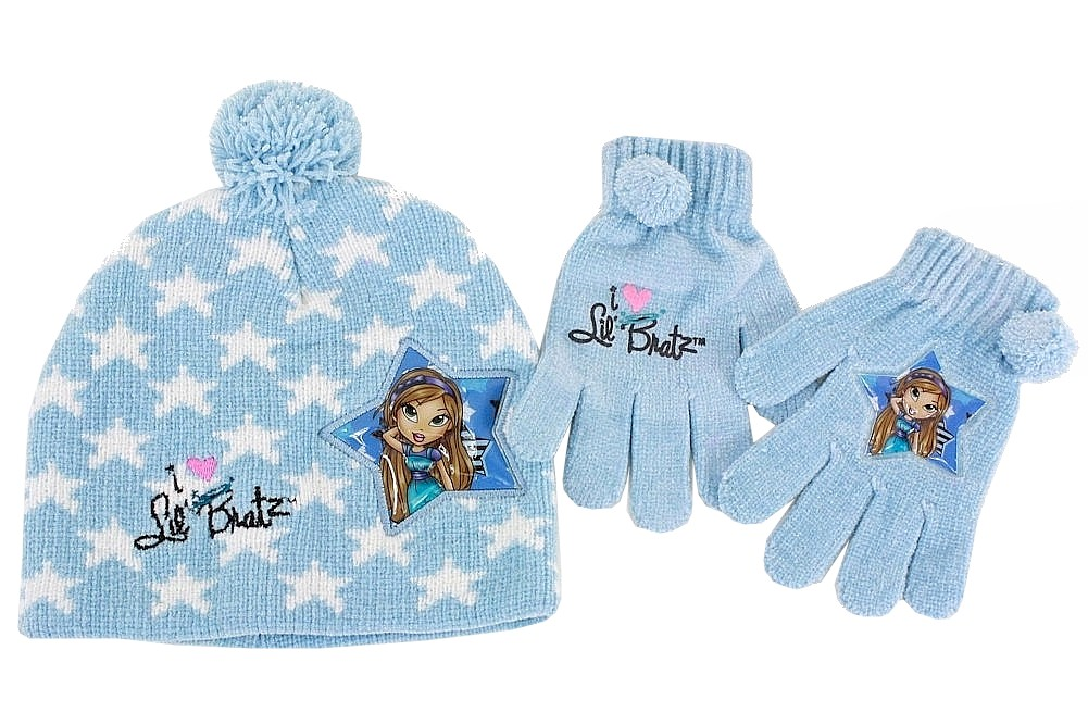 Image of Lil' Bratz Girl's Knit Winter Hat & Gloves Set Sz. 4 6X - Blue - 4 6X