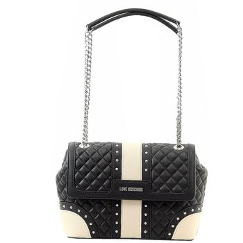 Love Moschino Women's Quilted & Studded Leather Flap Over Satchel Handbag  UPC: