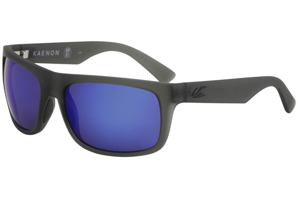 Image of Kaenon Burnet or Burnet Mid Polarized Fashion Sunglasses - Matte Carbon Grip Black/Pol Brown Blue Mir   G12 - Lens 60 Bridge 18 B 39 Temple 130mm
