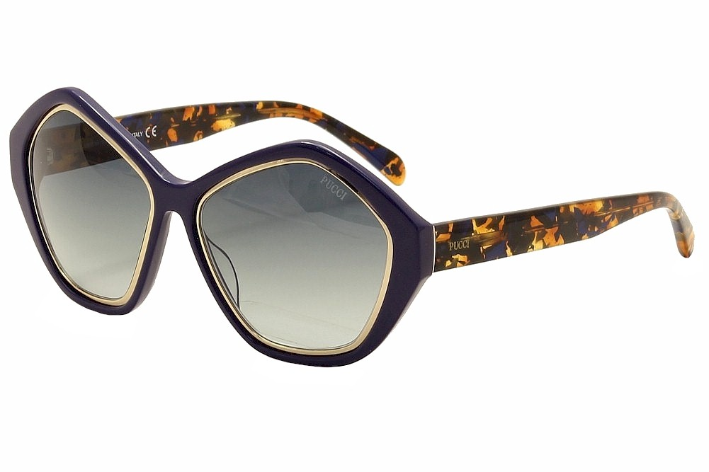 Image of Emilio Pucci Women's EP0019 0019 Fashion Sunglasses - Blue - Lens 57 Bridge 16 Temple 140mm
