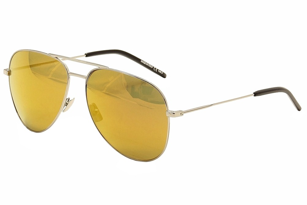Image of Saint Laurent Classic 11 Pilot Sunglasses - Silver/Black/Gold Flash   012 - Lens 59 Bridge 14 Temple 145mm