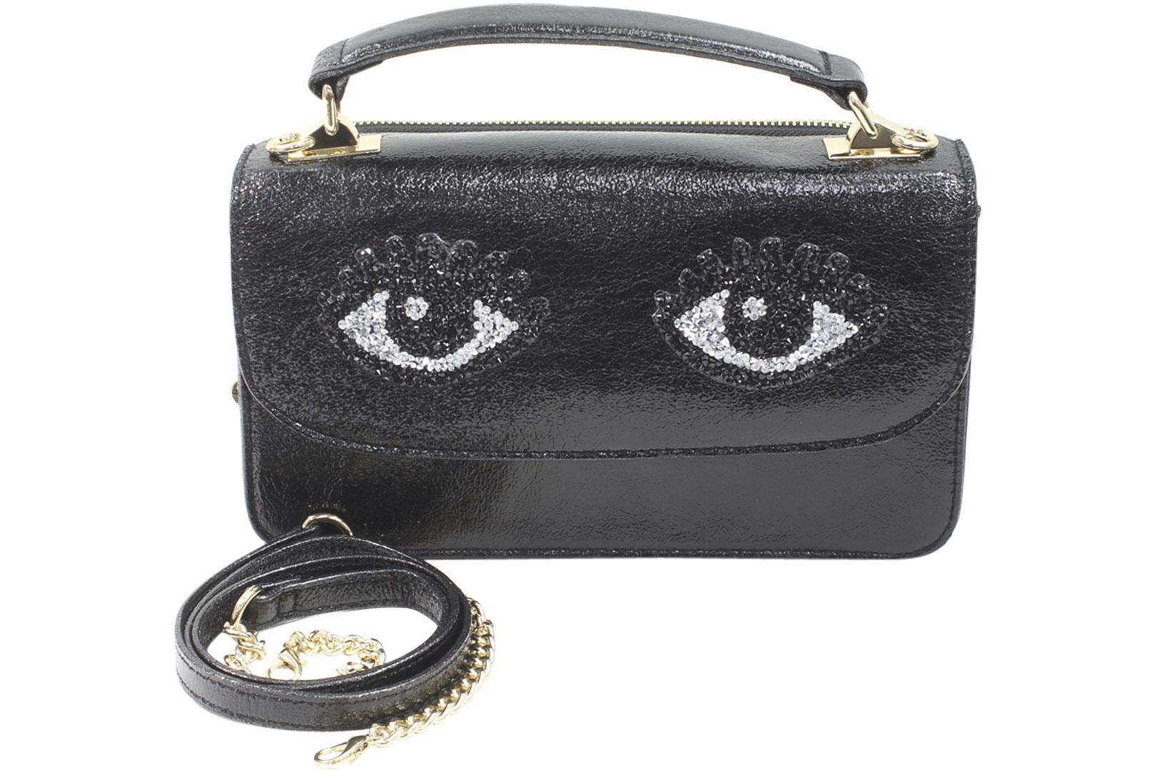 Image of Betsey Johnson Women's Eye Catching Top Handle Crossbody Handbag - Black