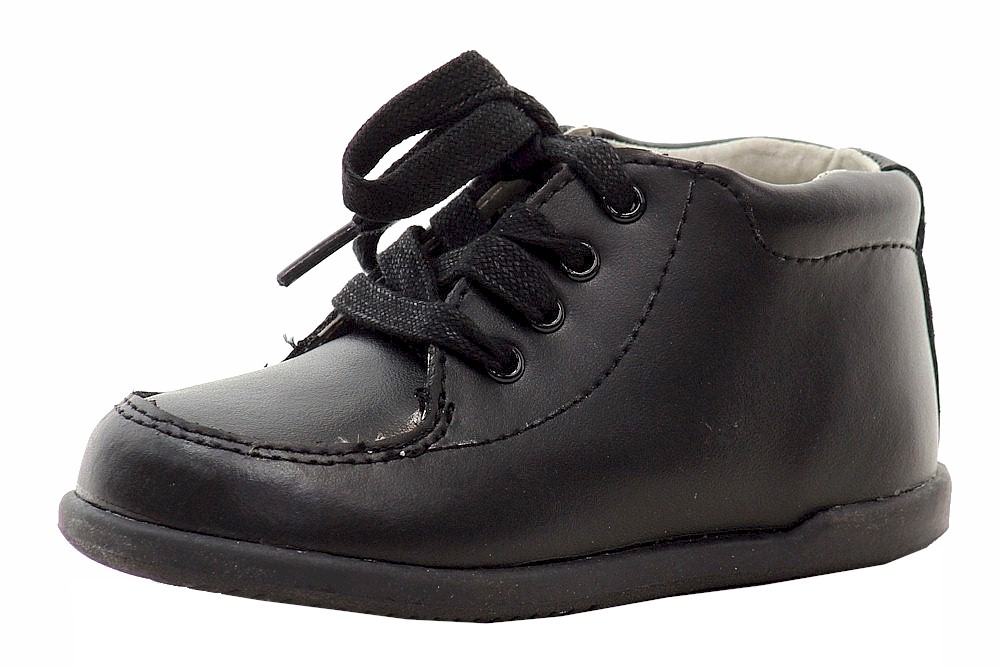 Image of Josmo Smart Step Infant Boy's First Walkers Fashion Oxfords Shoes - Black - 3.5   Toddler