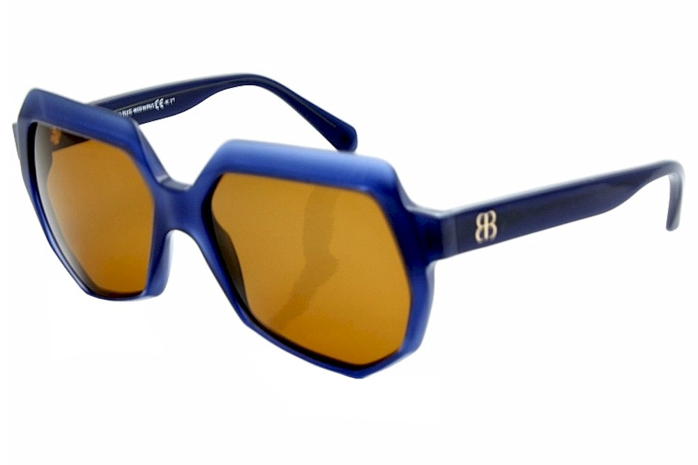 Image of Balenciaga Women's 0105/S 0105S Fashion Sunglasses - Blue/Ruthenium/Amber - Lens 55 Bridge 16 Temple 135mm
