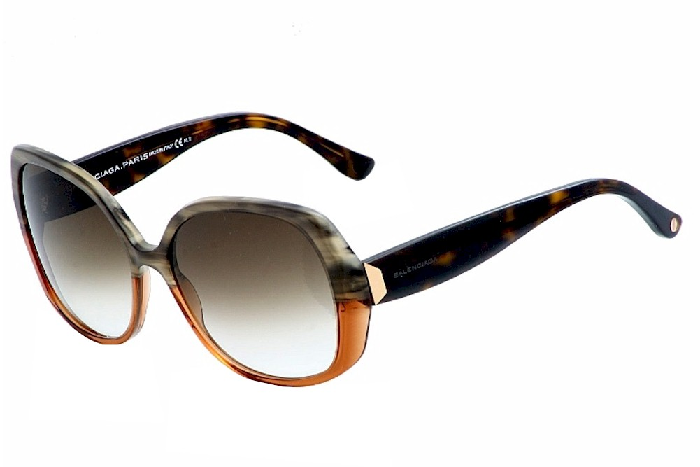 Image of Balenciaga Women's BA95S BA/95S Fashion Sunglasses - Brown Horn/Grey Gradient - Lens 57 Bridge 16 Temple 135mm