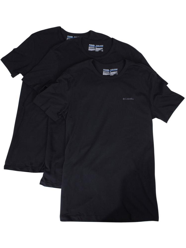 Image of Columbia Men's 3 Pc Short Sleeve Crew Neck Cotton T Shirt - Black - Small