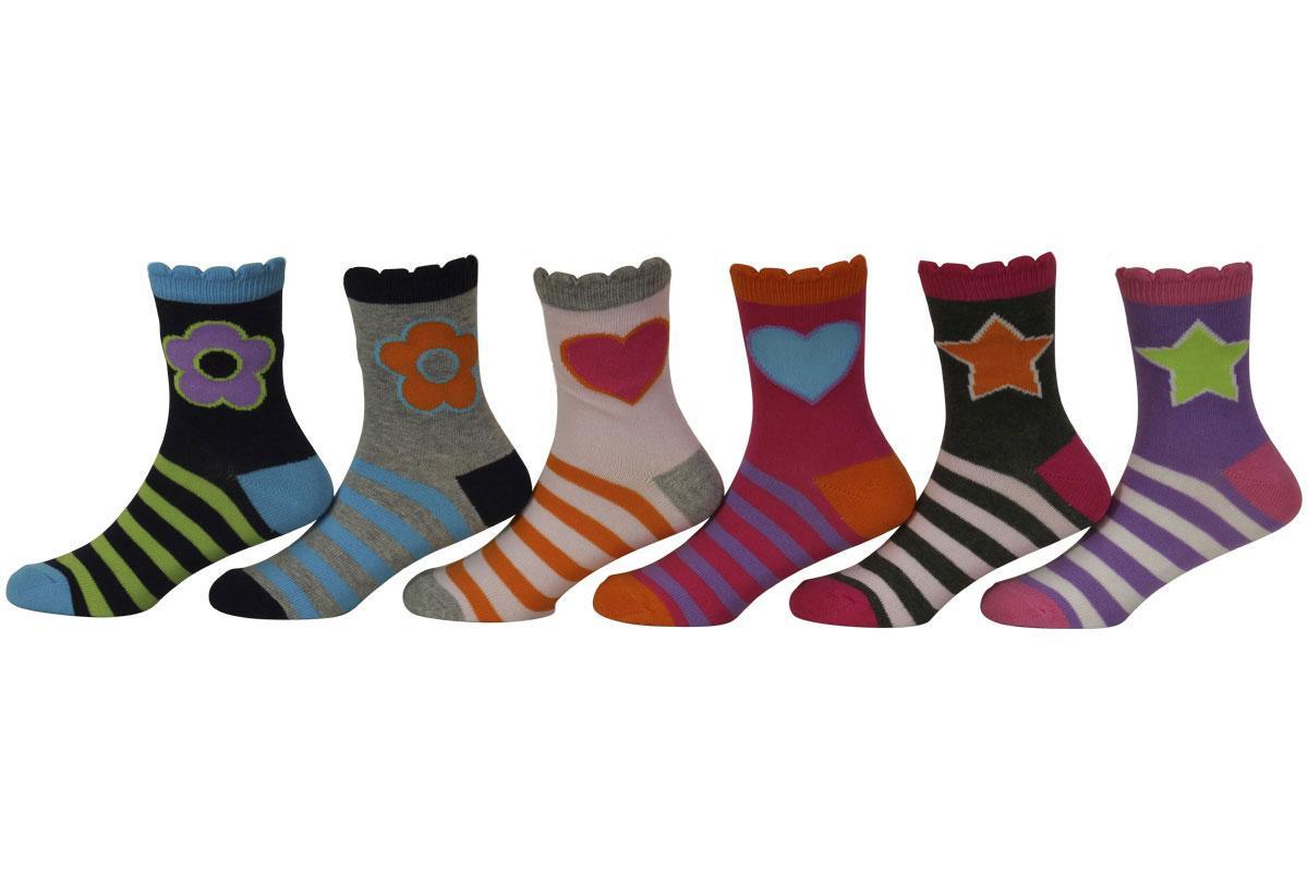 Image of Jefferies Socks Little/Big Girl's 6 Pairs Stars/Daisies/Hearts Crew Socks - Multi - Small; Fits Shoe 9 1 (Little Kid)