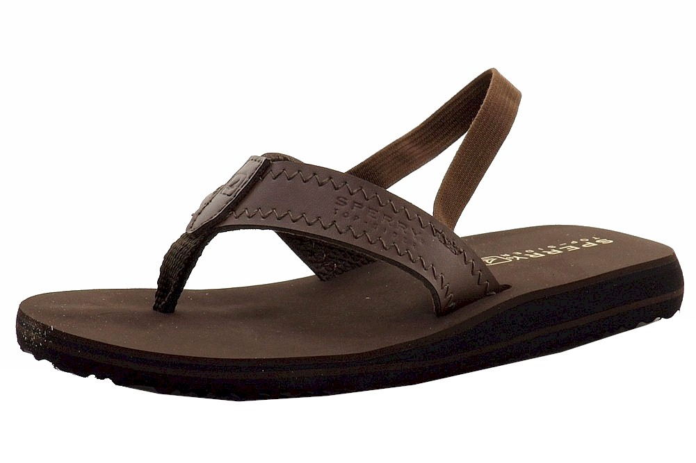 Image of Sperry Top Sider Boy's Goby Thong Flip Flops Shoes - Brown - 10   Toddler