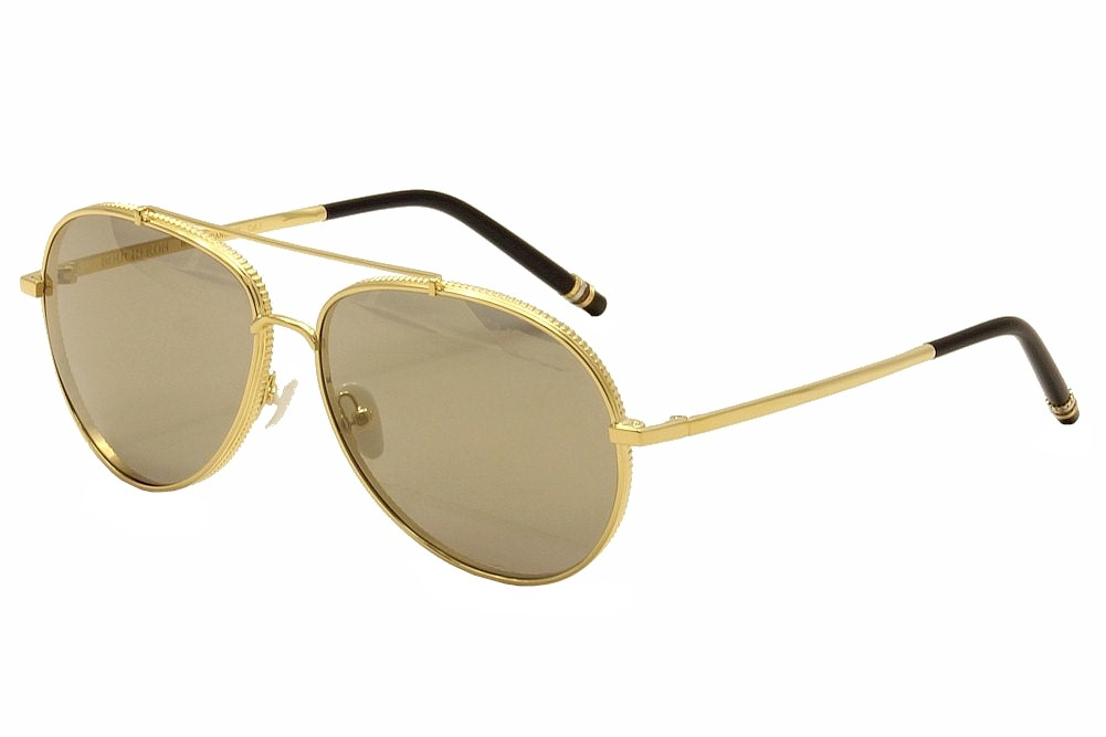 Image of Boucheron Women's BC 0003S 0003/S Fashion Sunglasses - Gold/Black/Mother of Pearl/Grey Gold Flash   001 - Lens 58 Bridge 14 Temple 140mm