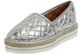 Love Moschino Women's Metallic Silver Crackle Quilted Slip-On Espadrille Loafer