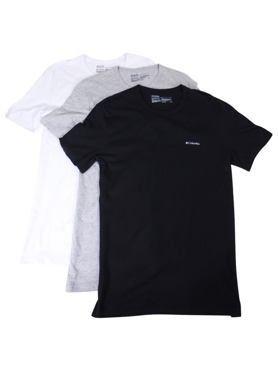 Image of Columbia Men's 3 Pc Short Sleeve Crew Neck Cotton T Shirt - White/Grey/Black - Small