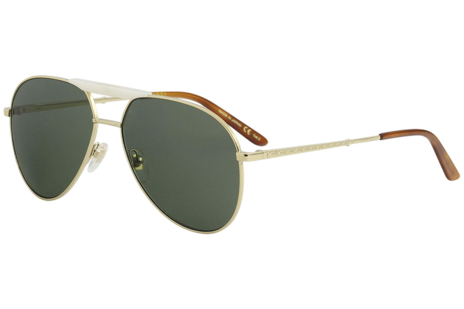 b83832e38d Gucci Men s GG0242S GG 0242 S 003 Gold Fashion Pilot Sunglasses 59mm ...