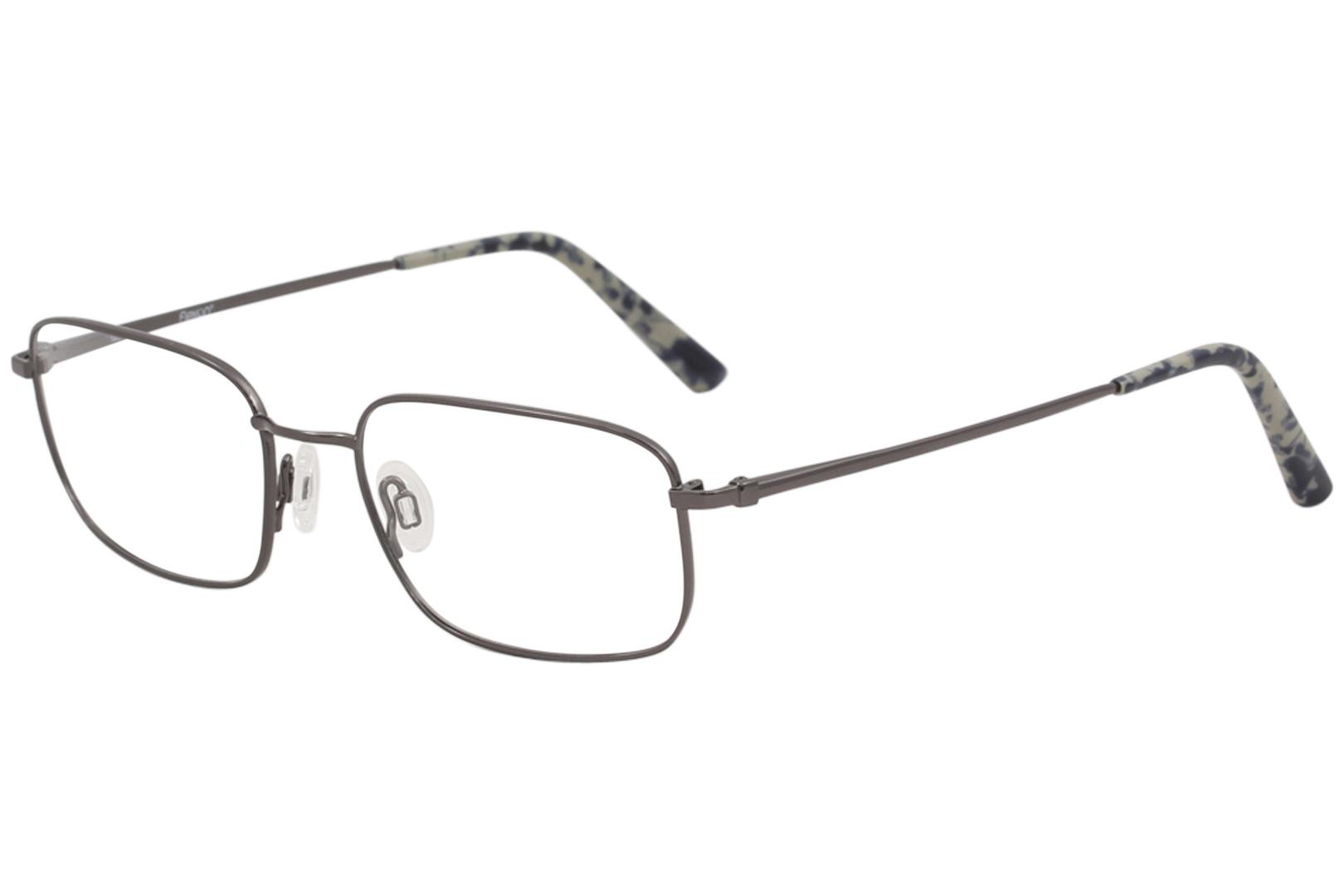 Image of Flexon Men's Benjamin 600 033 Gunmetal Titanium Optical Frame 54mm - Grey - Lens 54 Bridge 18 Temple 140mm
