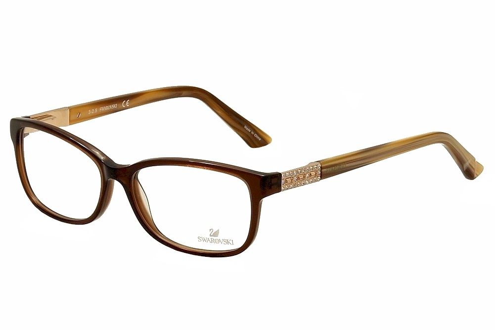 Image of Daniel Swarovski Women's Eyeglasses Foxy SW5155 SW/5155 Full Rim Optical Frame - Brown - Lens 53 Bridge 14 Temple 140mm