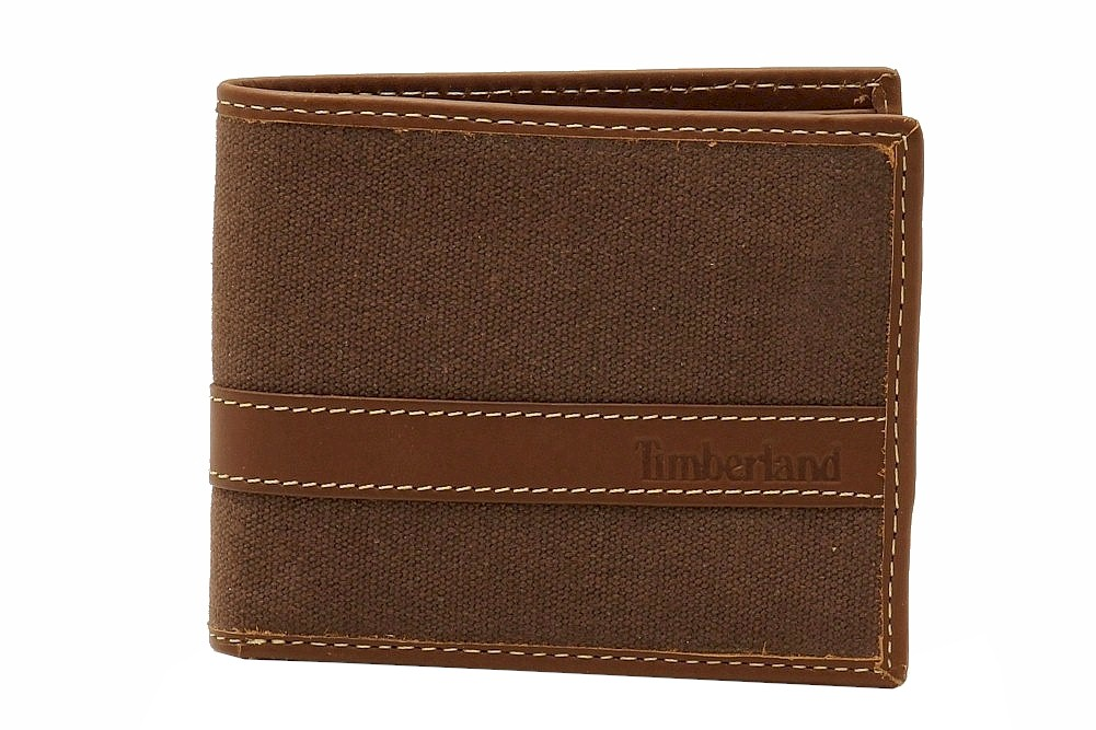 Timberland Men S Waxed Canvas Leather Bi Fold Passcase Wallet