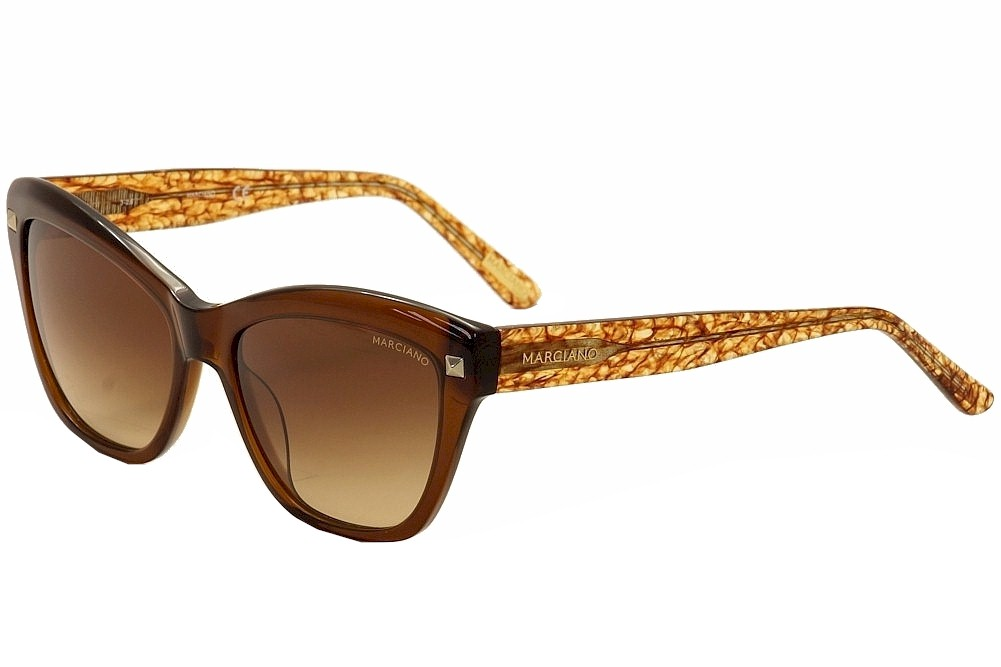 Image of Guess By Marciano Women's GM0741 GM/0741 Fashion Cat Eye Sunglasses - Brown - Lens 56 Bridge 17 Temple 140mm