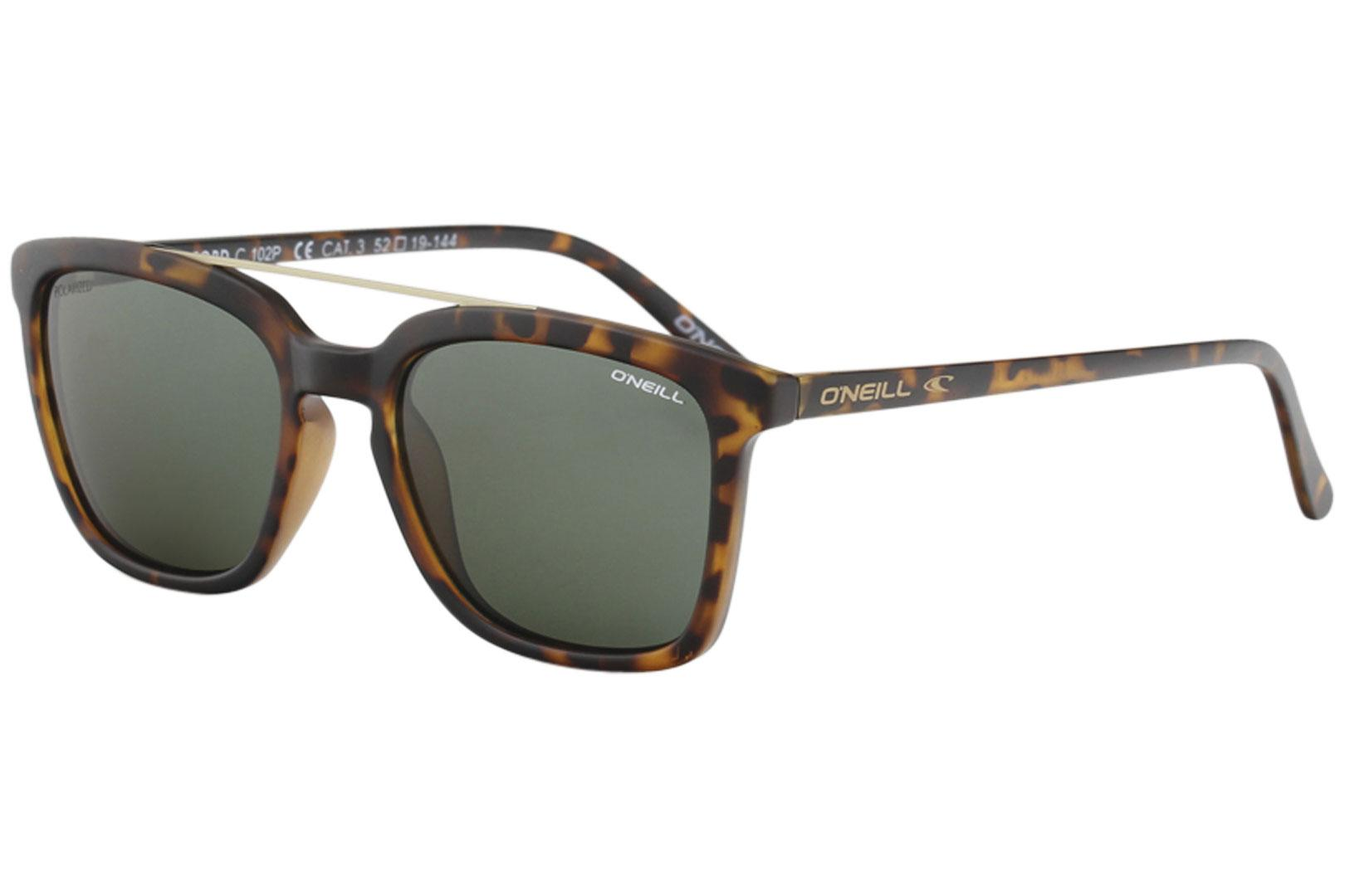 Image of O'Neill Men's Ons Beresford Fashion Rectangle Sunglasses - Tortoise/Green Polarized Gold Mirror   102 P - Lens 52 Bridge 19 Temple 144mm
