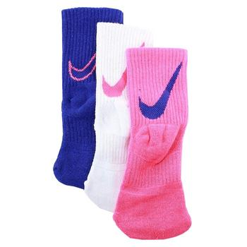 Nike Little Girl's 3-Pair Swoosh Logo Performance Crew Socks  UPC:
