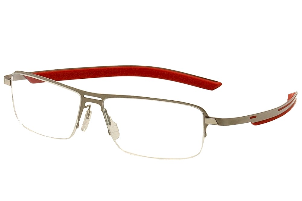 Image of Tag Heuer Men's Eyeglasses Line TH3823 TH/3823 Half Rim Optical Frame - Satin Silver/Red   002 - Lens 57 Bridge 14 Temple 165mm
