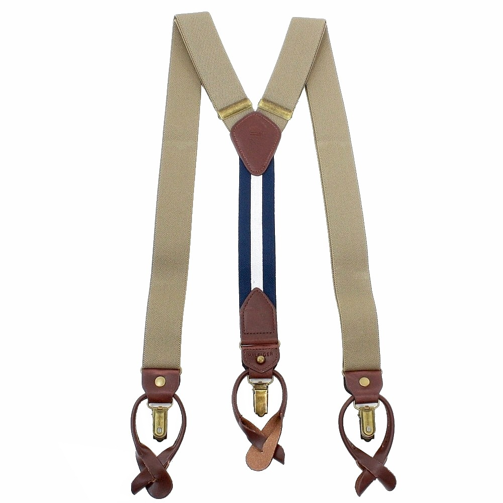 Image of Tommy Hilfiger Men's Solid Stretch Convertible Suspenders (One Size Fits Most) - Brown - One Size