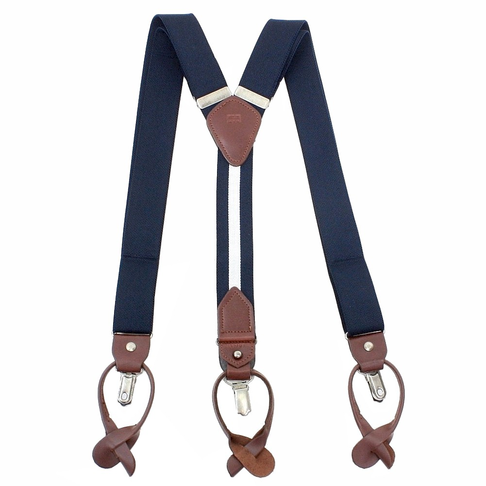 Image of Tommy Hilfiger Men's Solid Stretch Convertible Suspenders (One Size Fits Most) - Blue - One Size
