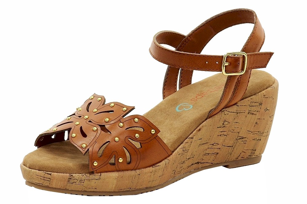 Image of BareTraps Girl's Bloom Fashion Wedge Sandals Shoes - Brown - 13 M US Little Kid
