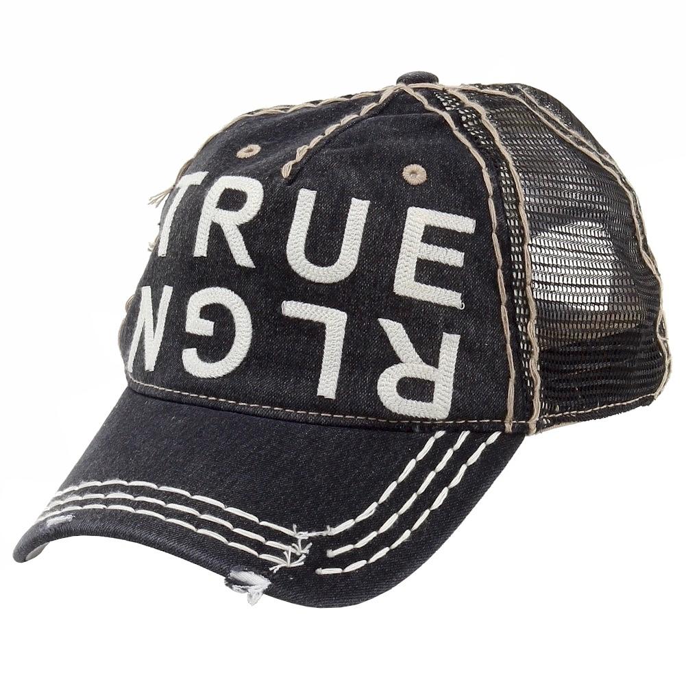 6648eaa3c68 True Religion Men s Denim Baseball Cap Hat (One Size Fits Most)