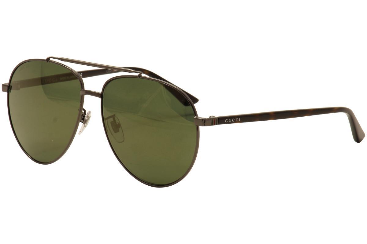 2f949686bea Gucci Men s GG0043SA GG 0043 SA Pilot Sunglassess (Asian Fit)