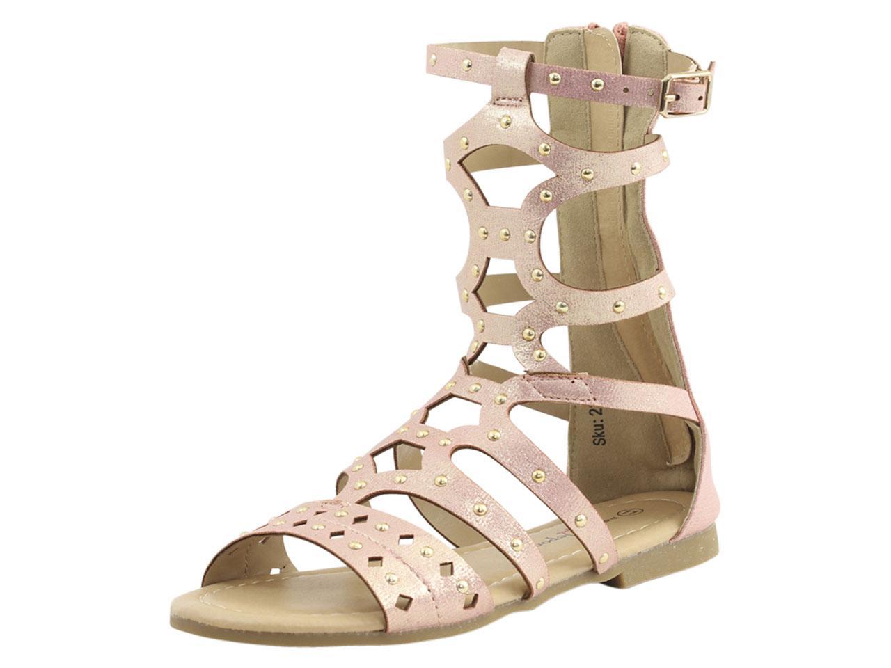 Image of Nanette Lepore Little/Big Girl's Studded Gladiator Sandals Shoes - Pink Metallic - 1 M US Little Kid