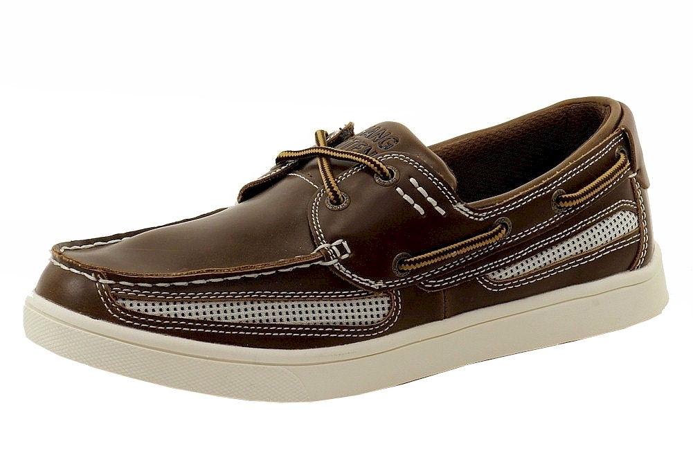 Image of Hang Ten Men's Coronado Lace Up Boat Loafers Shoes - Brown - 8.5 D(M) US