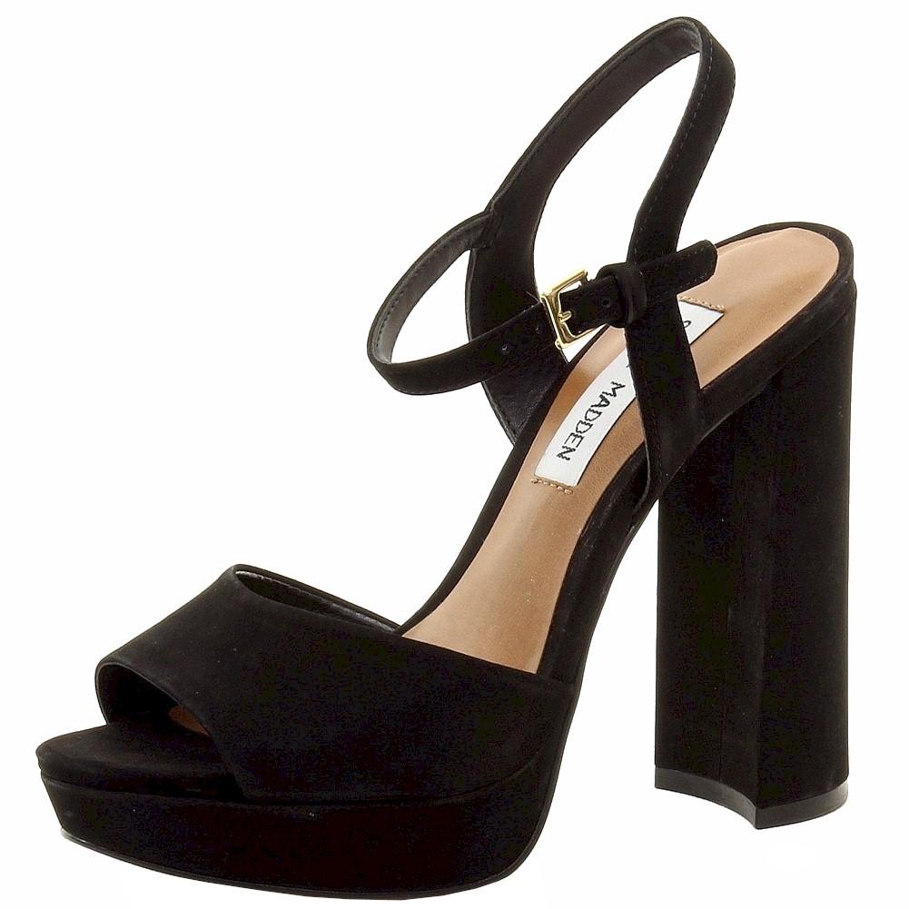 Image of Steve Madden Women's Kierra Fashion Nubuck Heels Sandals Shoes - Black - 10 B(M) US