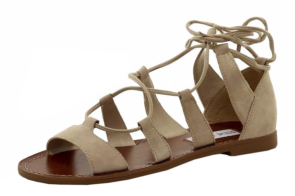 Image of Steve Madden Women's Sanndee Fashion Nubuck Gladiator Sandals Shoes - Beige - 6 B(M) US
