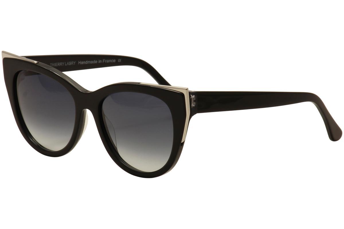 Image of Thierry Lasry Women's Epiphany Cat Eye Fashion Sunglasses - Black Silver/Blue Gradient   701  - Lens 55 Bridge 17 Temple 140mm