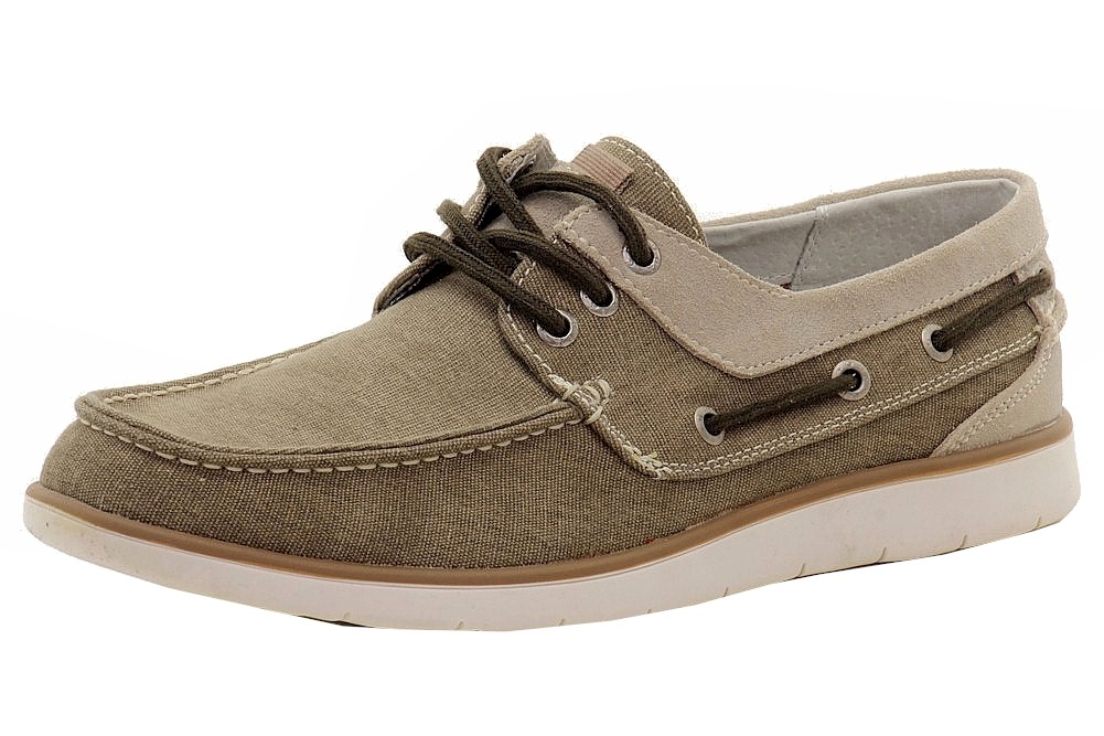 Image of GBX Men's East Canvas/Leather Loafers Boat Shoes - Brown - 13 D(M) US