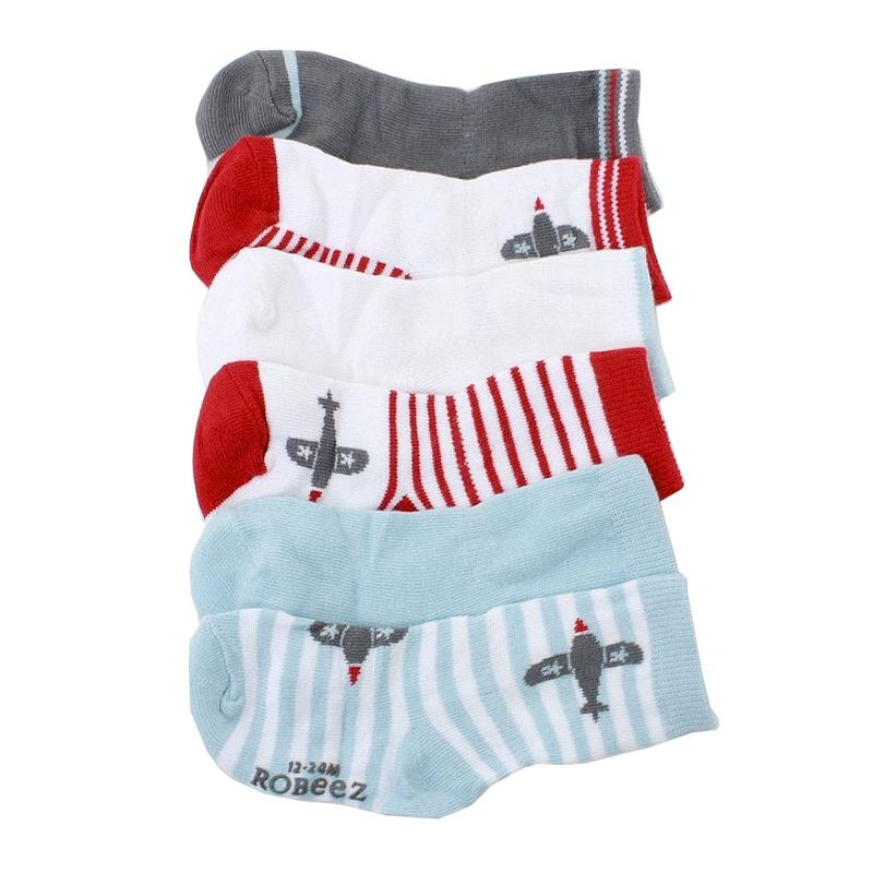 Image of Robeez Mini Infant Boy's 6 Pairs Aviator Games Red Skid Proof Socks - Red - 6 12 Months