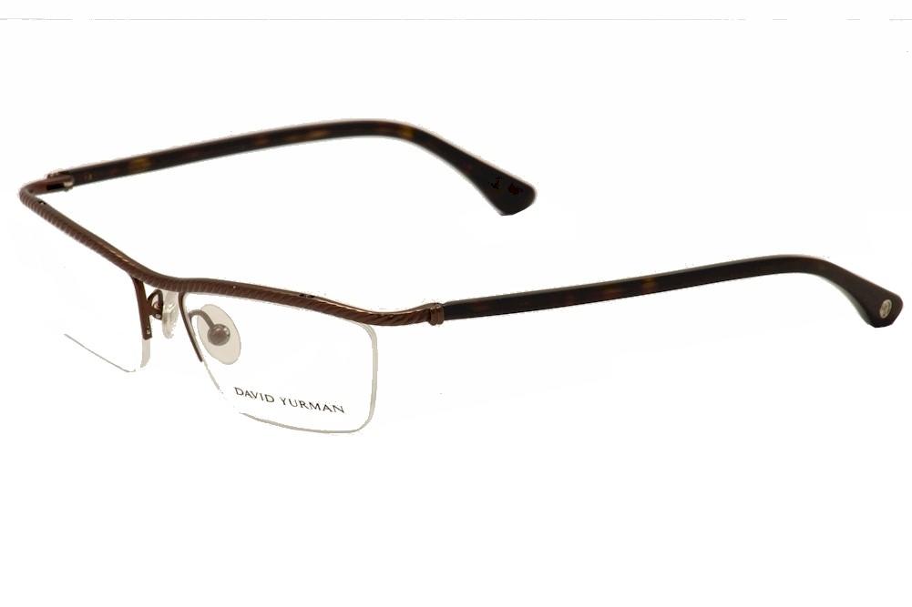 Image of David Yurman Women's Eyeglasses DY043 DY/043 Titanium Half Rim Optical Frame - Brown - Lens 53 Bridge 16 Temple 129mm