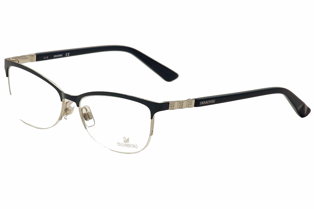 Image of Daniel Swarovski Women's Eyeglasses Good SW5169 SW/5169 Half Rim Optical Frame - Green - Lens 54 Bridge 16 Temple 135mm