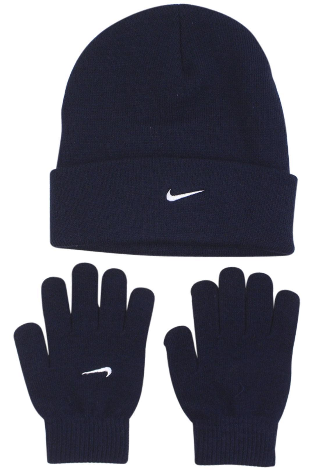 Nike Boy's Swoosh Logo 2-Piece Cuff Beanie Hat & Gloves Set