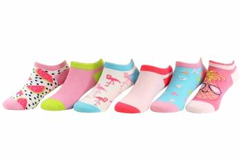 Stride Rite Toddler/Little/Big Girl's 6-Pairs Tropical Tessa Pink No Show Socks UPC: