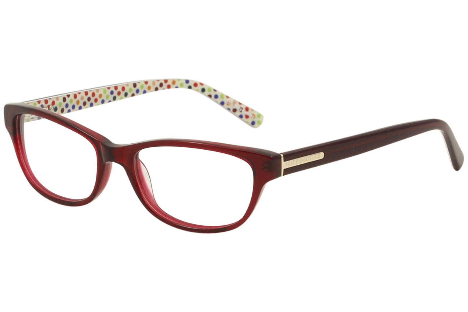 Image of Juicy Couture Women's Eyeglasses JU118 JU/118 Full Rim Optical Frame - Burgundy Crystal   0ETH - Lens 51 Bridge 16 Temple 135mm