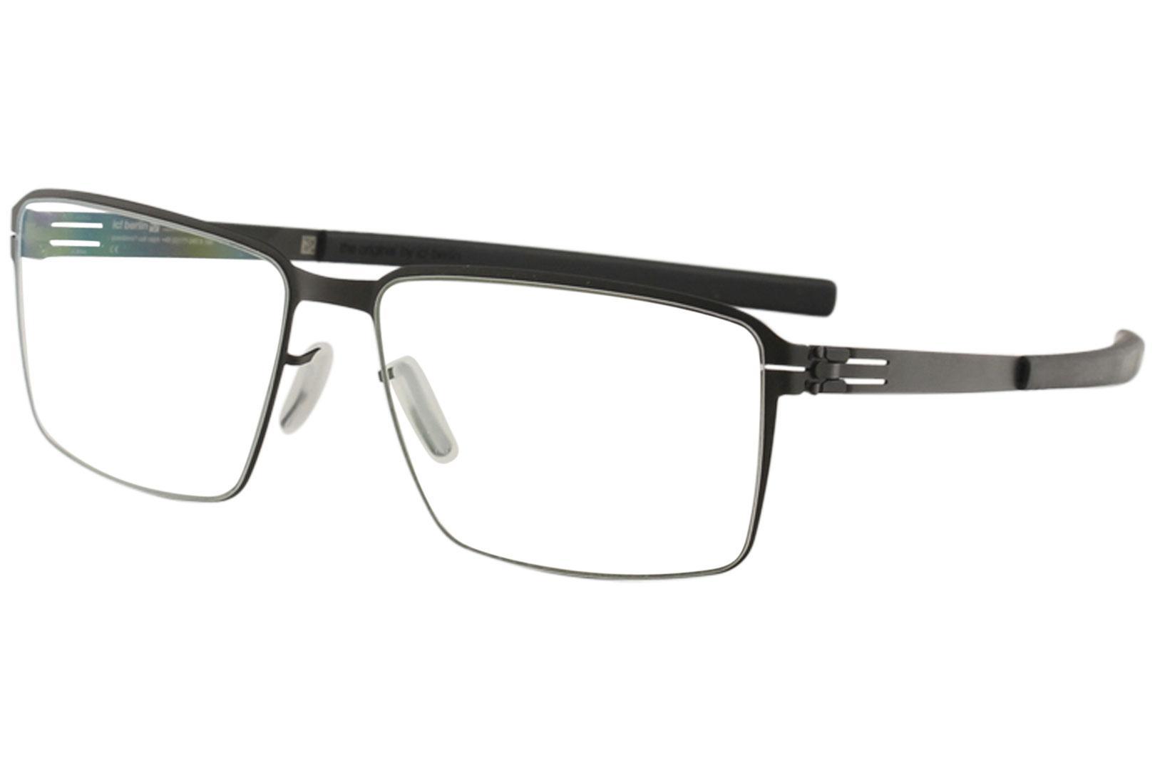Image of Ic! Berlin Men's Eyeglasses Jens K. Full Rim Flex Optical Frame - Black - Lens 55 Bridge 16 Temple 145mm