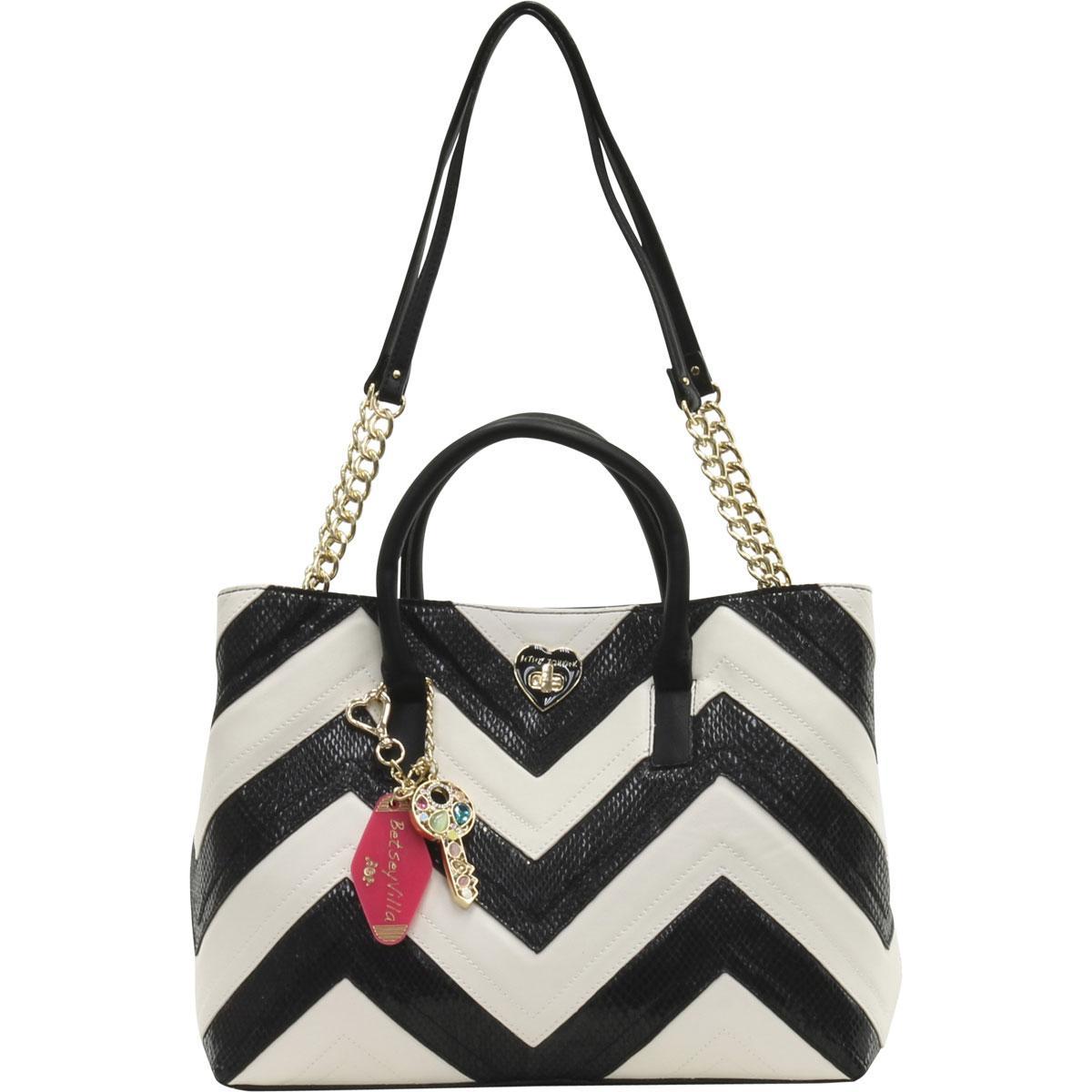 993e8a90db84 Betsey Johnson Women s Suite Life Chevron Tote Handbag