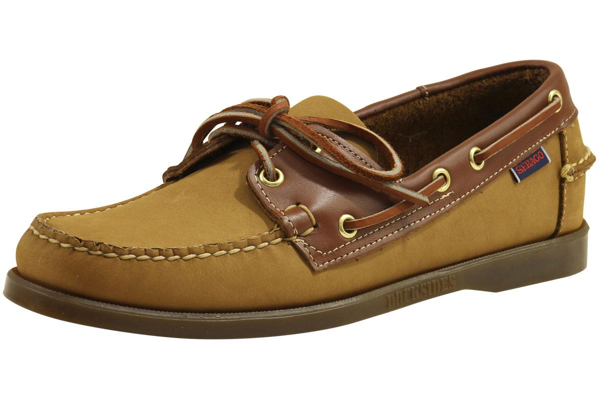 Image of Sebago Men's Spinnaker Loafers Boat Shoes - Tan Nubuck/Tan Leather - 8.5 D(M) US