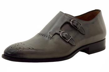 Mezlan Men's Gris Double Monk Strap Leather Loafers Shoes