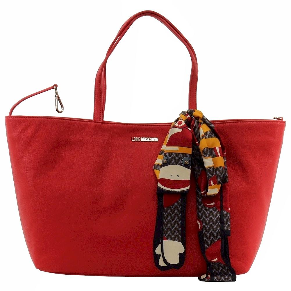 Love Moschino Women s Grain Leather Tote Handbag W Thin Scarf JC4075PP12LJ0