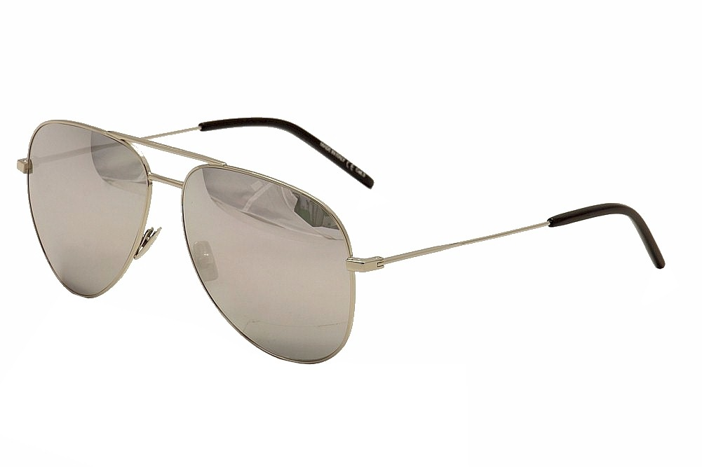 Image of Saint Laurent Classic 11 Pilot Sunglasses - Silver/Black/Grey/Silver Mirror   011 - Lens 59 Bridge 14 Temple 145mm