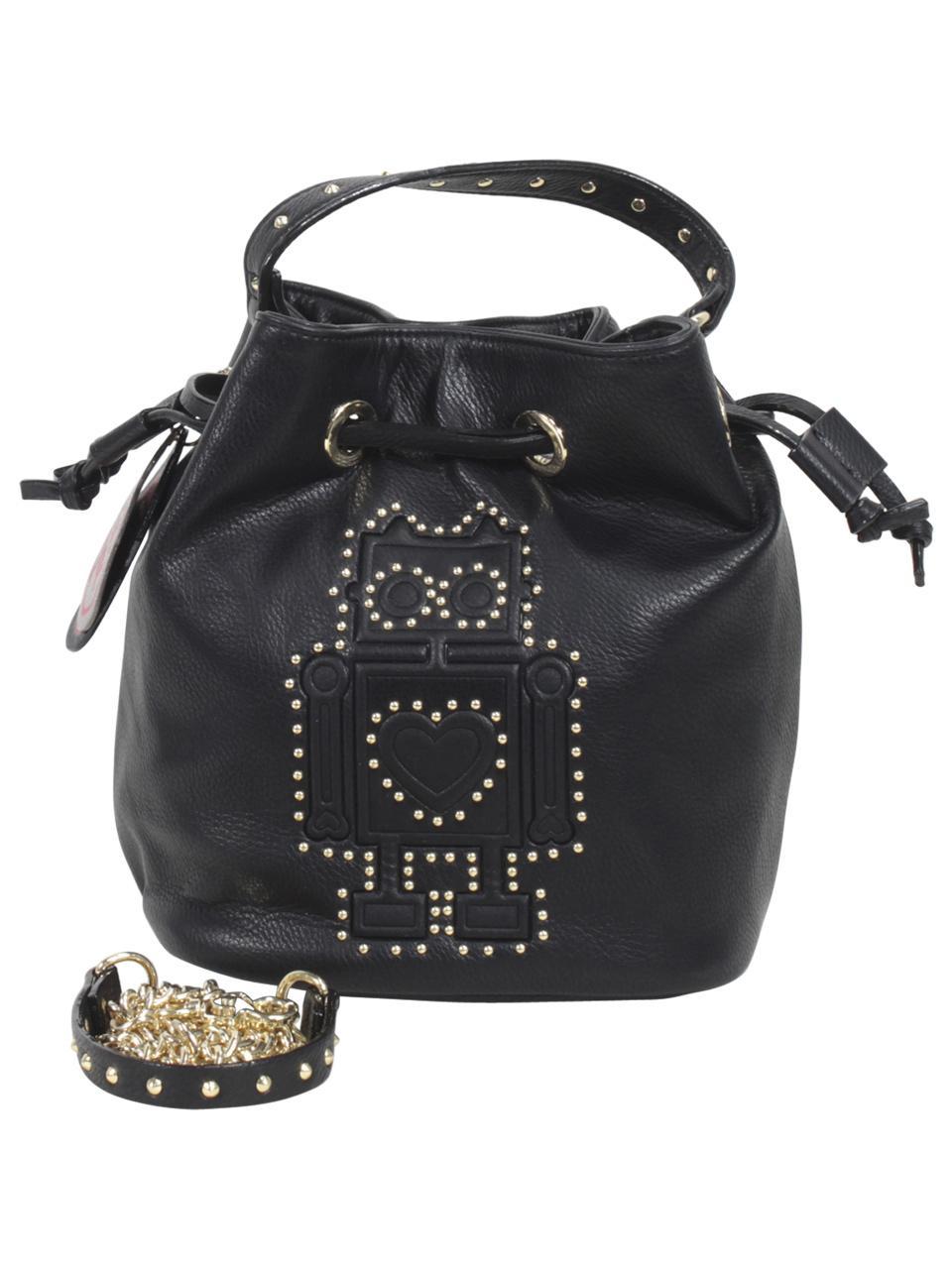 Betsey Johnson Women's Kiss And Tell Robot Bucket Crossbody Handbag