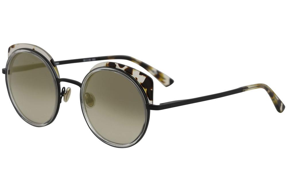 Image of Etnia Barcelona Spiga Fashion Round Sunglasses - Golden Black/Grey Gradient Gold Mirror   BKGD - Lens 52 Bridge 24 Temple 143mm