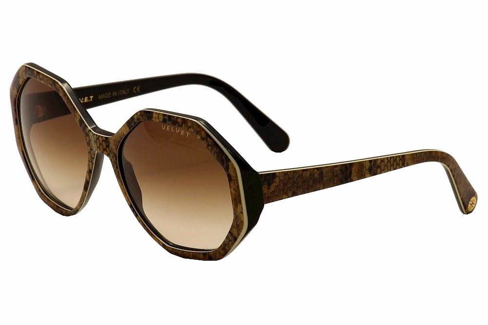 Image of Velvet Eyewear Women's Jami V009 V/009 Fashion Sunglasses - Boa Black/Gold/Brown Fade - Lens 58 Bridge 18 Temple 135mm